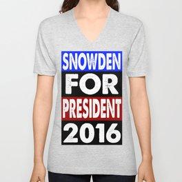Snowden For President 2016 Unisex V-Neck