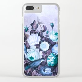 Teal Roses Blue Birds : Temple of Flora Clear iPhone Case