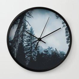Dark misty forest Wall Clock