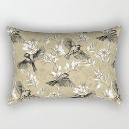 Flowers and Flight in Monochrome Golden Tan Rectangular Pillow