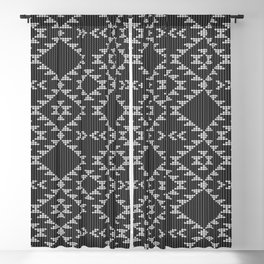 Southwestern textured navajo pattern in black & white Blackout Curtain