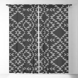Southwestern textured navajo pattern in black & white Blackout Curtain