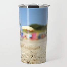 Summer life and fun in a beach in summer in Salento Italy Travel Mug