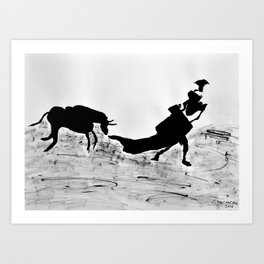 Bulls and bullfighters of Picasso III Art Print
