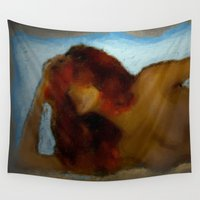 redhead Wall Tapestries featuring redhead on the beach by Maria Julia Bastias