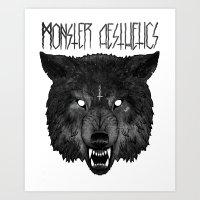 the hound Art Prints featuring  ‡ hell hound ‡  by trevor nicholls