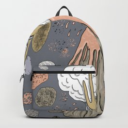 volcano with a hand, lotus flower and rocks Backpack