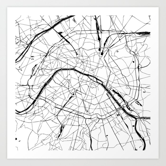 Paris France Minimal Street Map - Black and White Art Print by ...