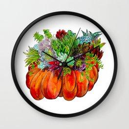 Succulent Pumpkin Wall Clock