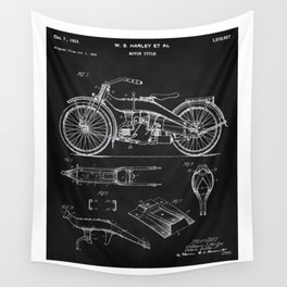 1924 Motorcycle Patent Art Wall Tapestry
