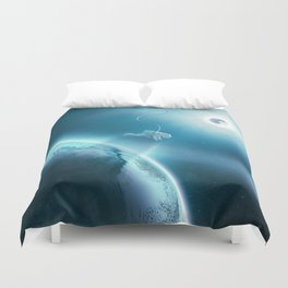 Astronaut Floating in Space Duvet Cover