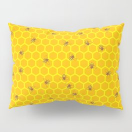 Mind Your Own Beeswax / Bright honeycomb and bee pattern Pillow Sham