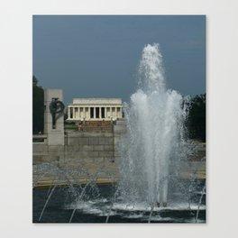 Memorial Fountain  And Lincoln Memorial Canvas Print