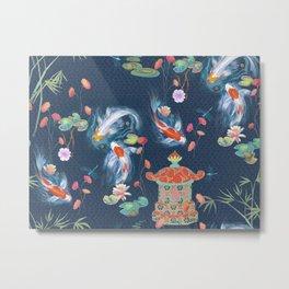 Japanese Watergarden with Pagoda - Navy Metal Print