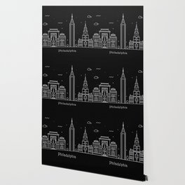 Philadelphia Minimal Nightscape / Skyline Drawing Wallpaper