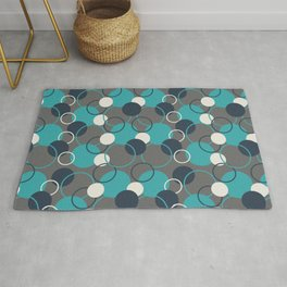 Teal Turquoise Aqua Dark Navy Blue and Alabaster White Solid Color Circles and Rings Pattern - Aquarium SW 6767 Rug
