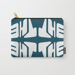 Bold Blue Typography Lettering Print Carry-All Pouch