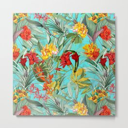 Vintage & Shabby Chic - Colorful Tropical Blue Garden Metal Print