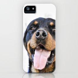 Happy rottweiler iPhone Case