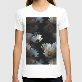 A Plethora Of Floating Daisies Isolated On Black T-shirt
