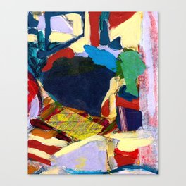 Blue, Red, Yellow, Cat Window Abstract Canvas Print