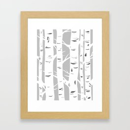 Gray Birches Framed Art Print