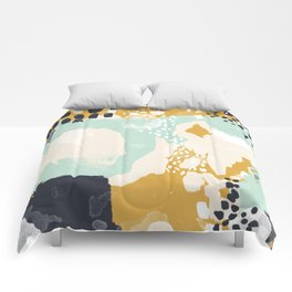 Tinsley - abstract painting minimalist decor nursery dorm college art gold navy Comforters