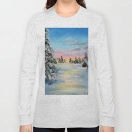 Winter Sunset Snow Scene Painting Long Sleeve T-shirt