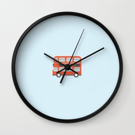 London Bus Illustration Wall Clock