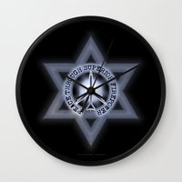 israel Wall Clocks featuring Israel Peace Symbol - 032 by Lazy Bones Studios