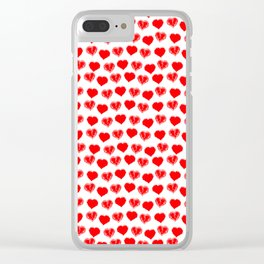 scribbled red hearts polkadots Clear iPhone Case