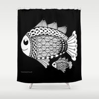 pen Shower Curtains featuring Fishies Zentangle Black and White Pen & Ink by Vermont Greetings