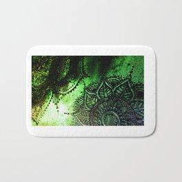 Henna Mehndi Mandalas in Green and Black Bath Mat