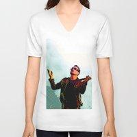 u2 V-neck T-shirts featuring U2 / Bono 2 by JR van Kampen