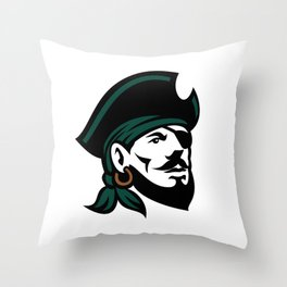 Pirate Head Eyepatch Looking Up Retro Throw Pillow
