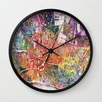 london map Wall Clocks featuring London map  by mark ashkenazi