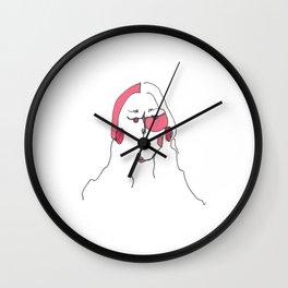 Pink Line Drawing Woman Wall Clock