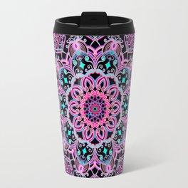 Mandala Project 281 | Pink Teal Purple Lace Mandala Travel Mug