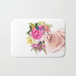 Flower Crown Baby Pig Bath Mat