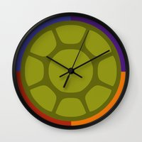 ninja turtle Wall Clocks featuring Ninja Turtle by R. Cuddi