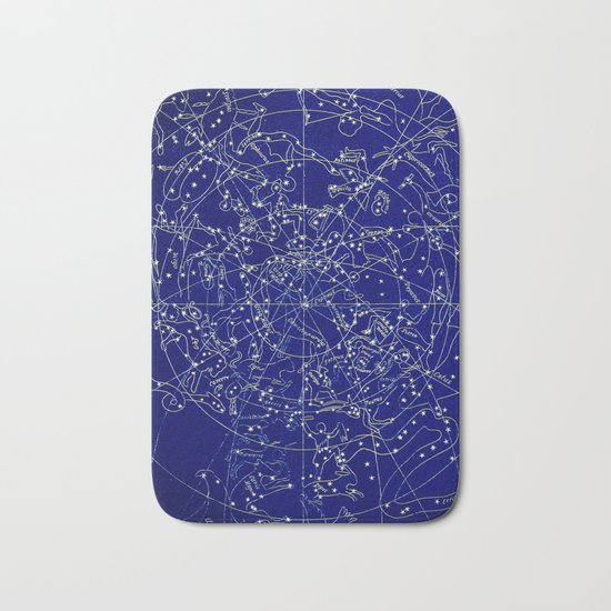 Constellation Stars blue space map on gold marble Bath Mat