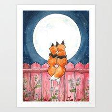 Fox Sweethearts Art Print