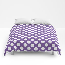 White Polka Dots with Purple Background Comforters