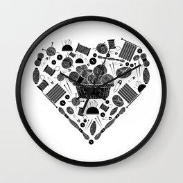 I Love Knitting | Wool Needle Heart Sewing Hobby Wall Clock