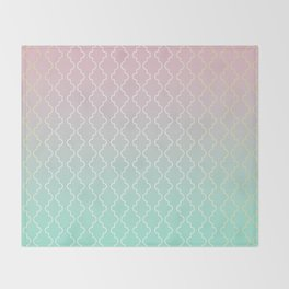 Moroccan pattern with mint, pink and gold Throw Blanket