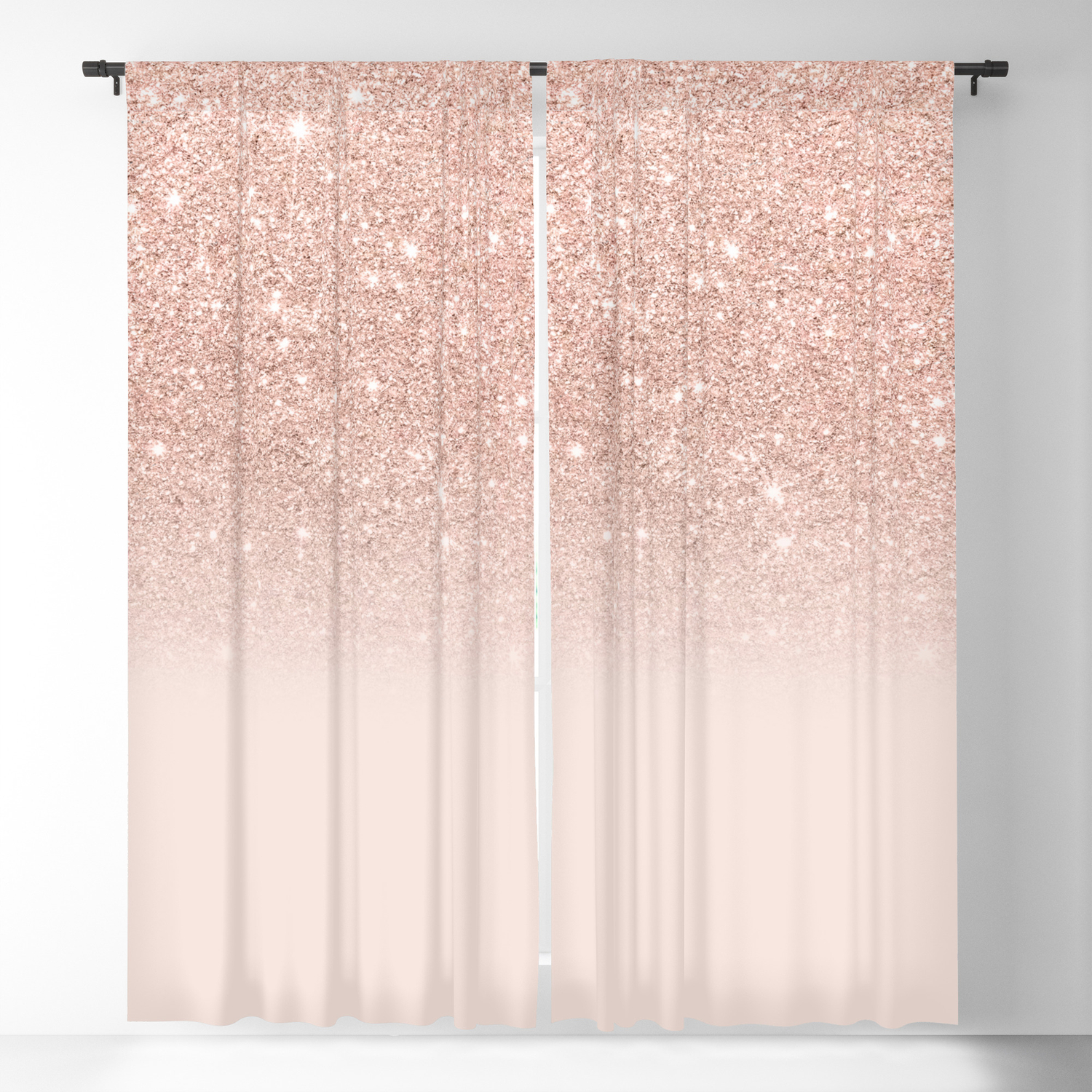 Rose Gold Faux Glitter Pink Ombre Color Block Blackout Curtain By