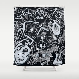 In Black Shower Curtain