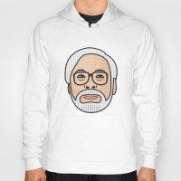 miyazaki Hoodies featuring Hayao Miyazaki Portrait - White by Cedric S Touati