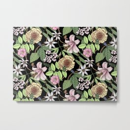 lush floral pattern with bee and beetles I Metal Print
