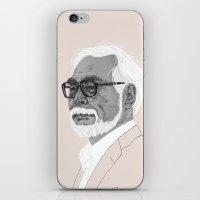 miyazaki iPhone & iPod Skins featuring Hayao Miyazaki by Andy Christofi